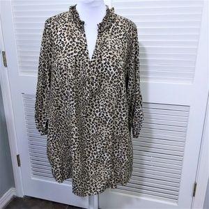 Lane Bryant Leopard Print Tunic with Ruffle Collar